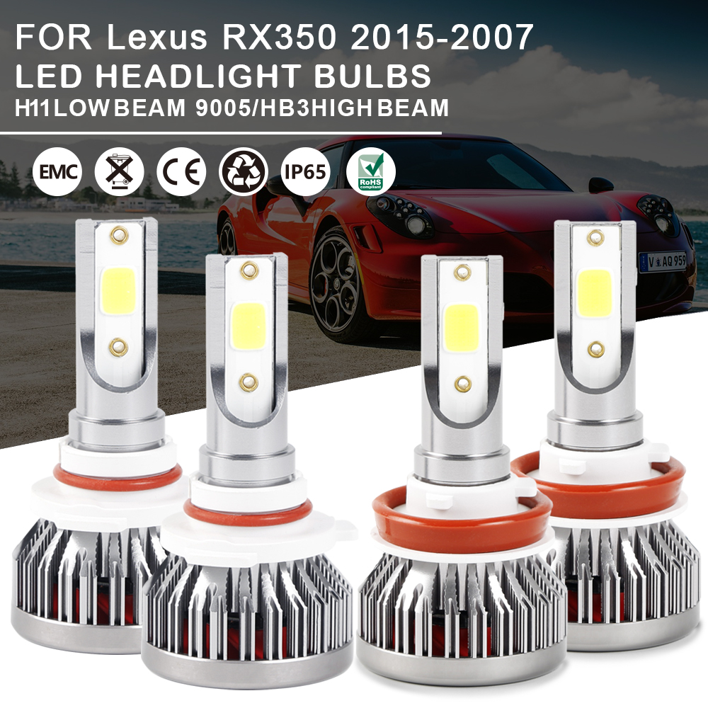 Combo LED Headlight Bulbs Kit 9005 H11 High Low Beam For