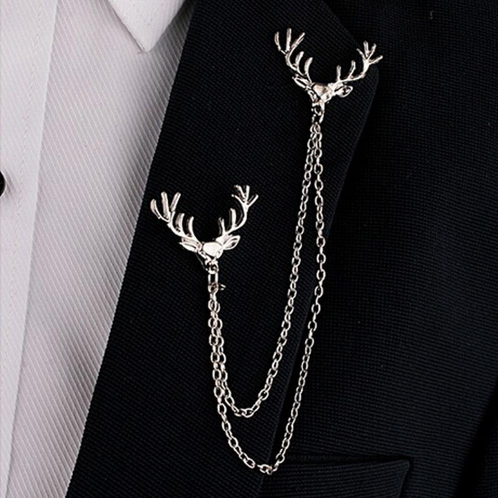 Unisex Tassel Chain Deer Head Brooches Shirt Suit Collar Pin ...