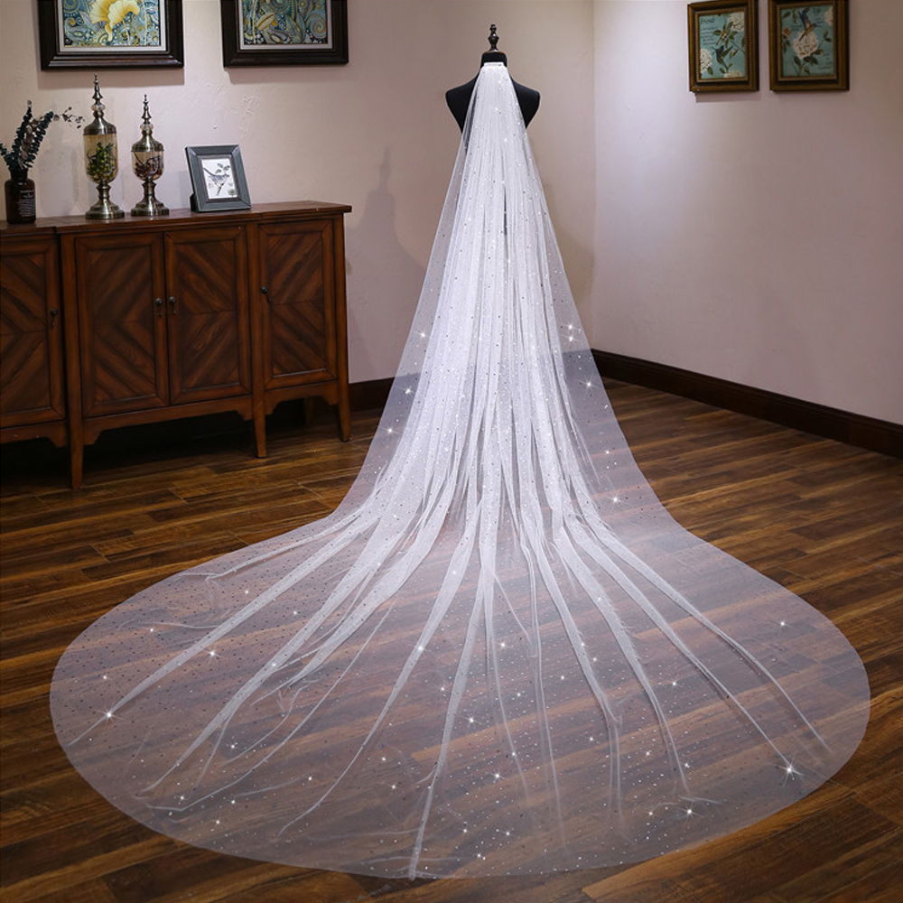 4M Bride White Long Cathedral Veil with Comb Wedding Shining Hair Accessories