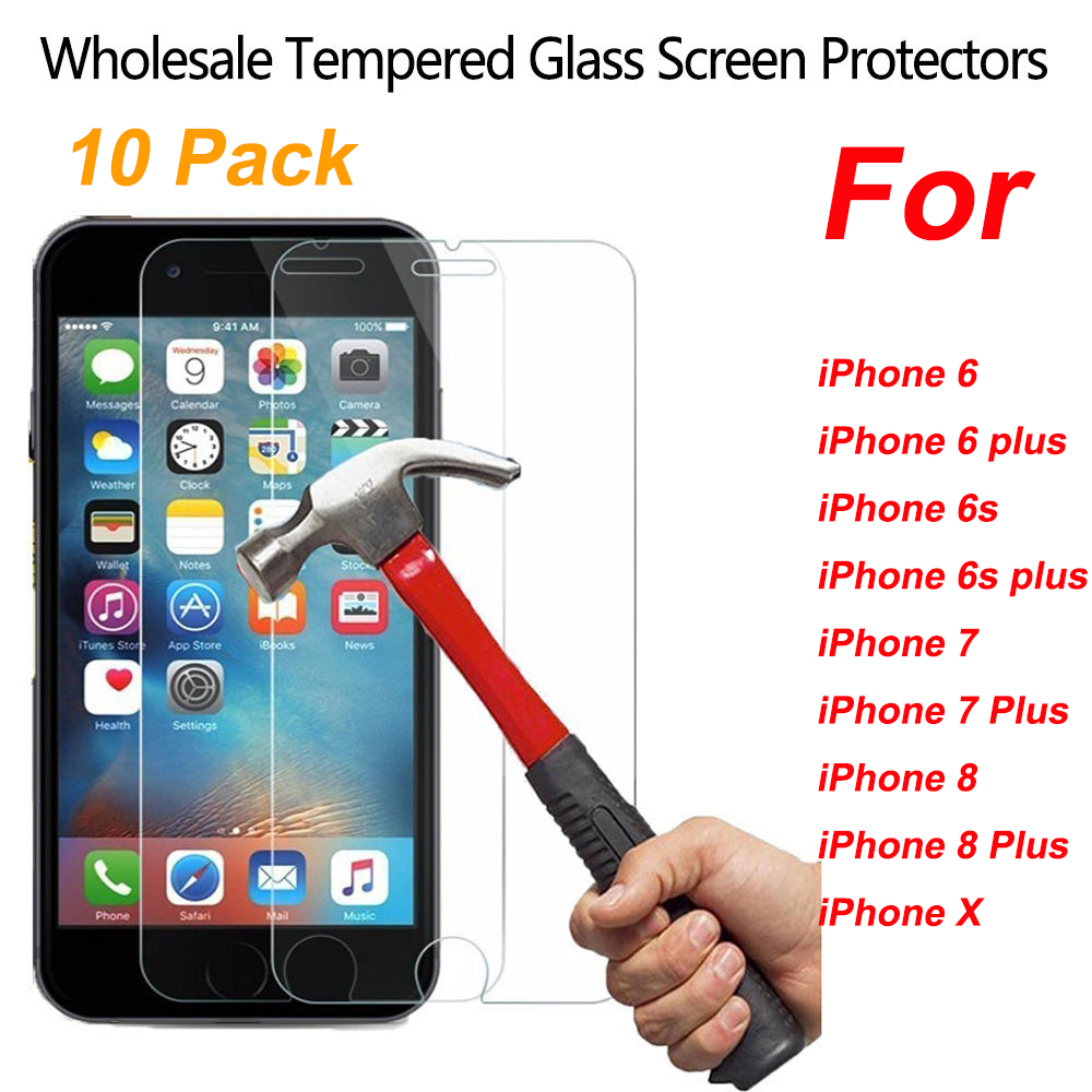 20x Wholesale Lot Bulk Retails Premium Tempered Glass Screen Film Protector  for Apple iPhone 6 7 8 X 6S Plus