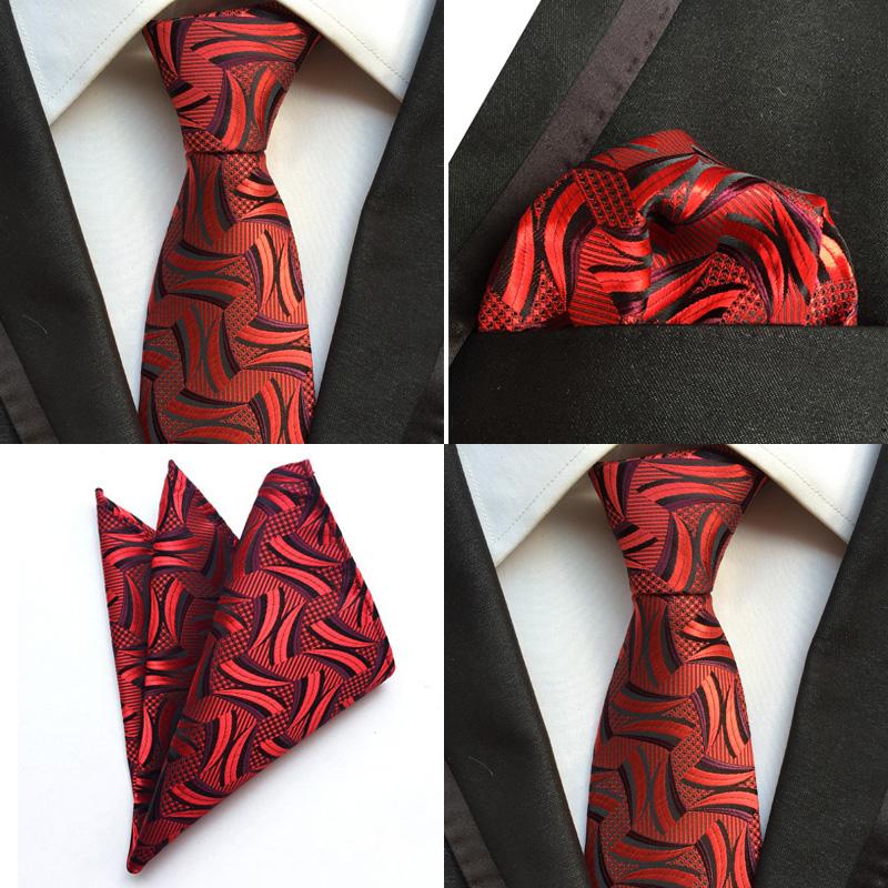 T122 NEW men silk ties /& handkerchief pocket square Tie set red black patterns