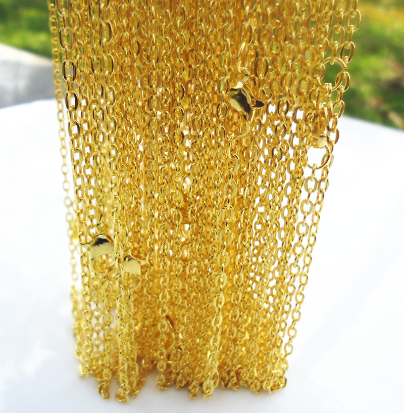 """Lots of 20PCS Gold Plated Fine Chain Necklace With Clasp 17/""""X-G"""