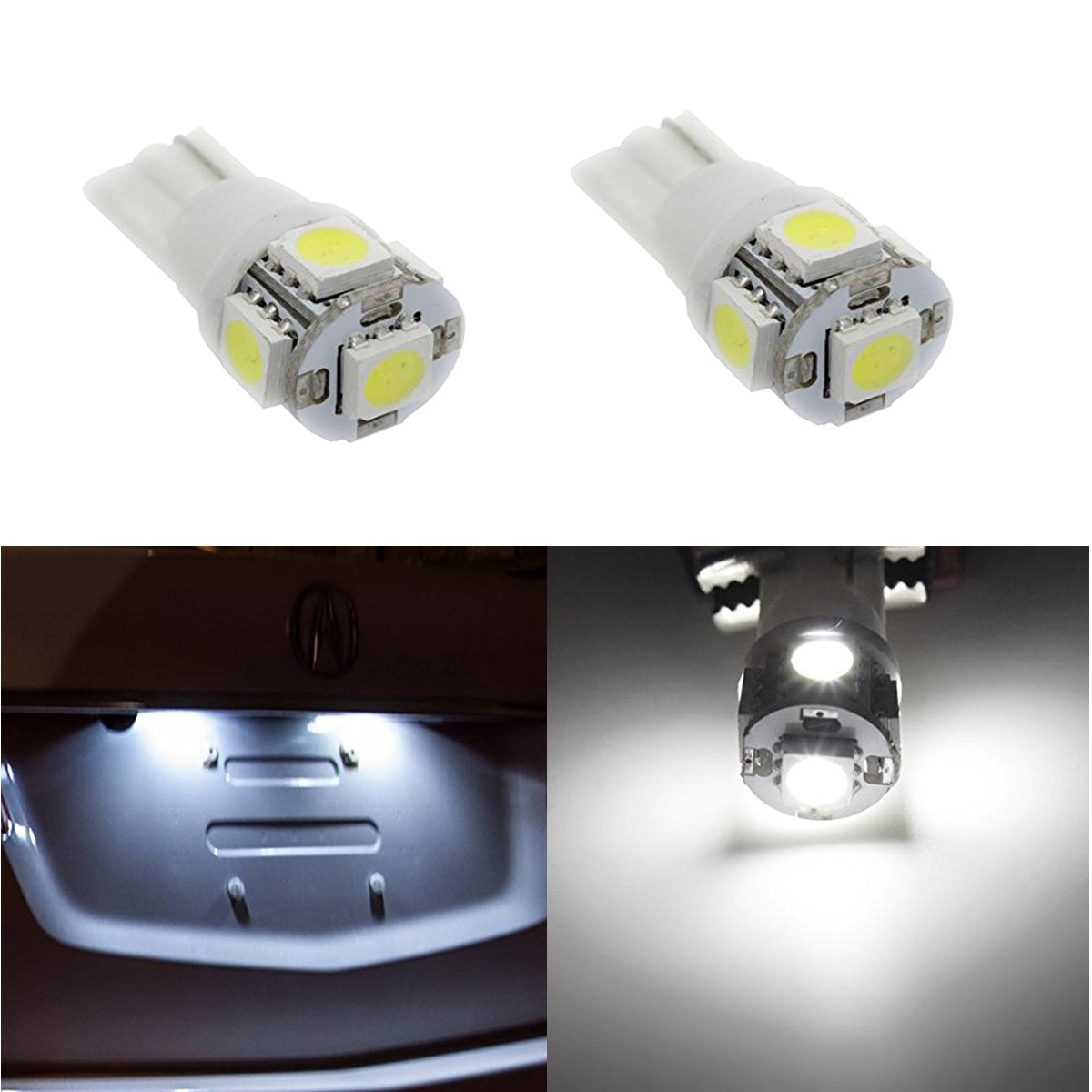 2pcs Cool White T10 W5W 2825 SMD LED Bulbs For License Plate Dome Map Lights