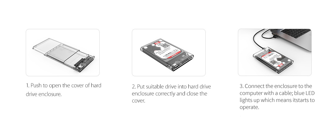 ORICO USB 3.1 Type-C Transparent 2.5 Inch SATA Hard Drive SSD HDD Enclosure Case 10