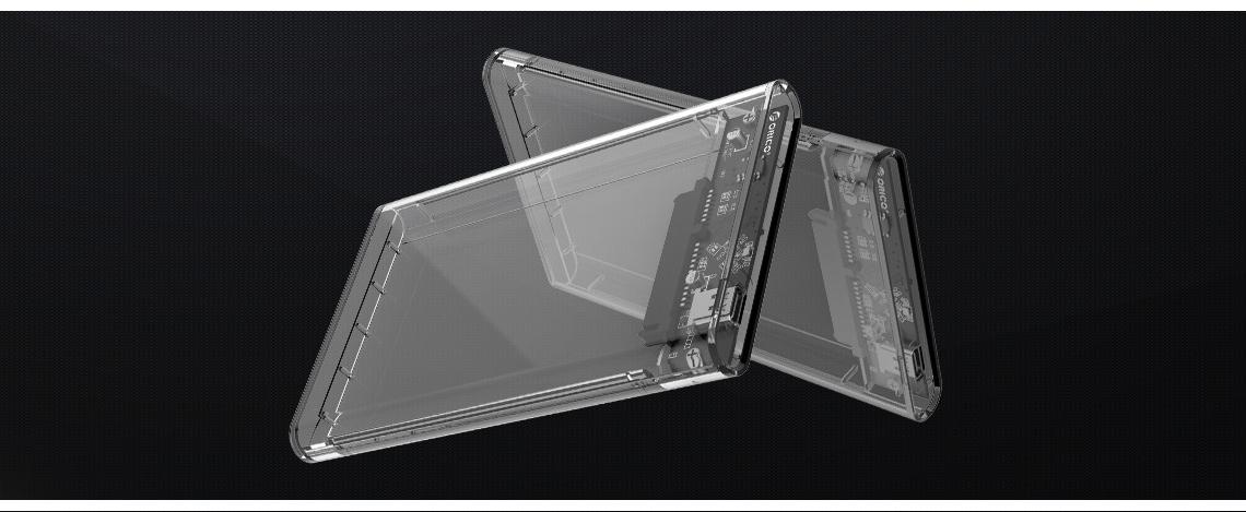 ORICO USB 3.1 Type-C Transparent 2.5 Inch SATA Hard Drive SSD HDD Enclosure Case 4