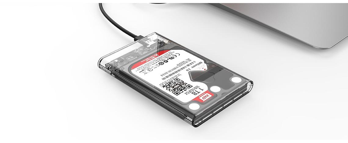 ORICO USB 3.1 Type-C Transparent 2.5 Inch SATA Hard Drive SSD HDD Enclosure Case 12