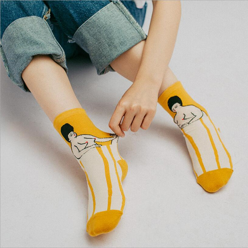 514d268cb Women Cartoon Art Odd Funny Socks Cute Childlike Home Sweet Lady Cartoon  Socks