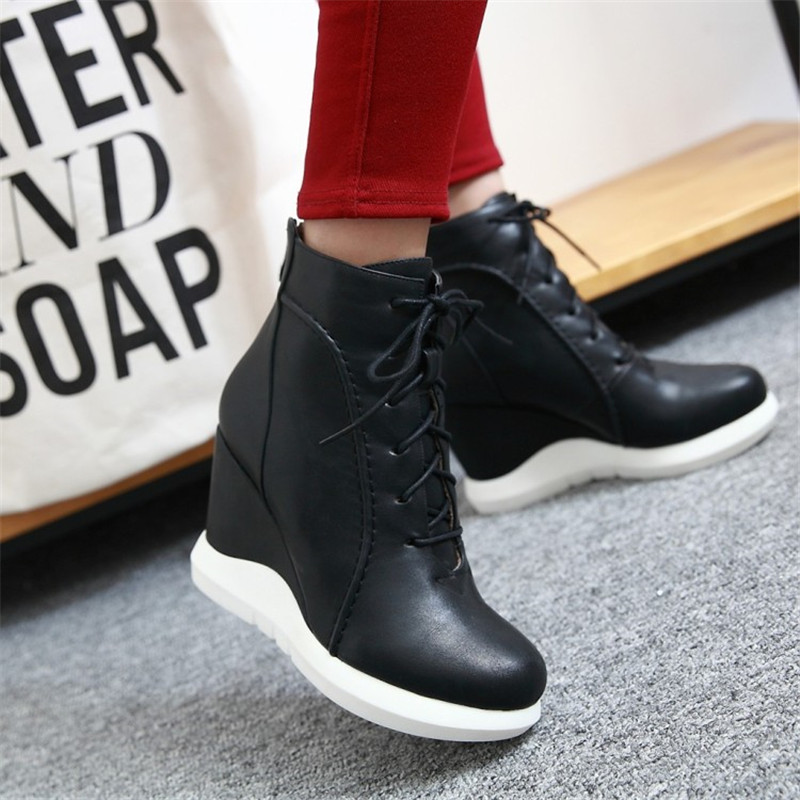 Fashion Women/'s Ankle Boots Hidden Wedge Heels Round Toe Booties Casual Shoes