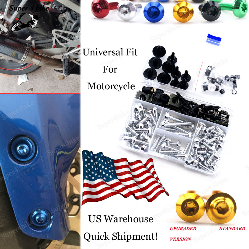High Quality Motorcycle Parts CNC Machined Aluminum Alloy Motorbike Windshield Bolts Screw Set Blue Fit For Suzuki Bandit 1200