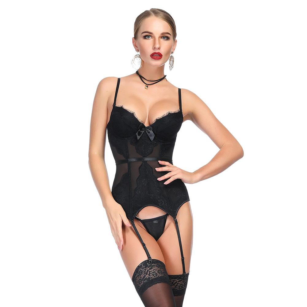 a081716c0d7 Women Sexy Lingerie Waist Training Underbust Corset Bustier Body Shaper  Garters