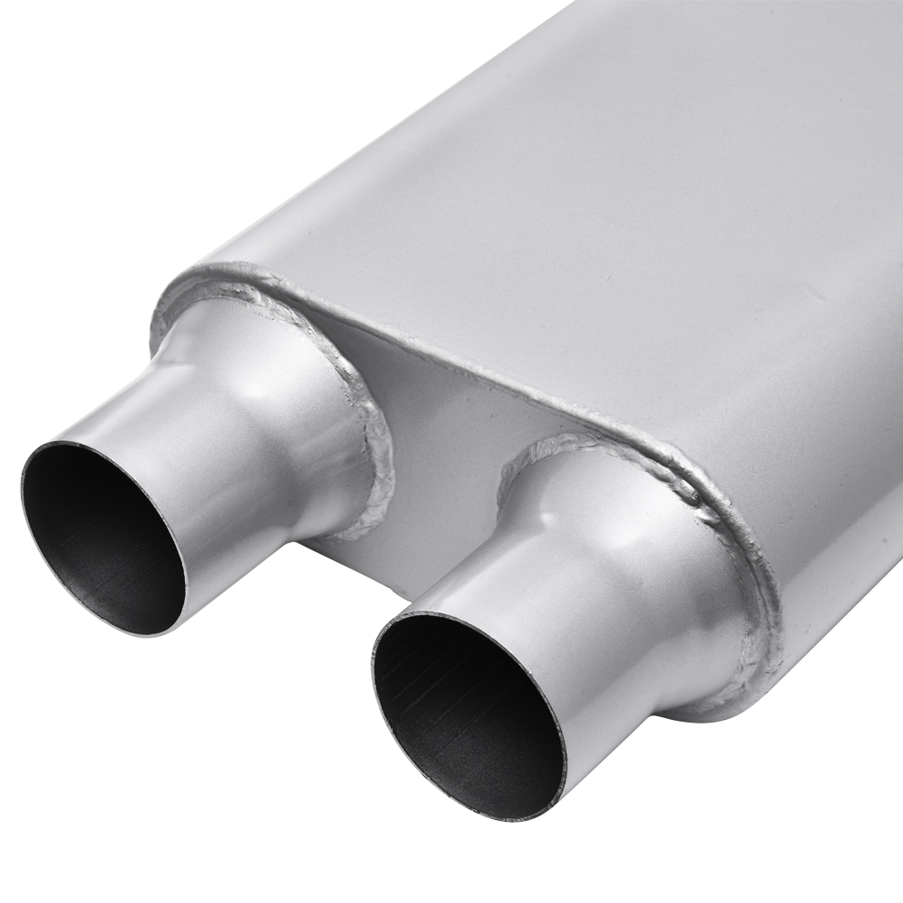 "Universal Oval Exhaust Muffler Center 2.5/"" inlet to 2.5/"" Dual outlet 24/"" long"