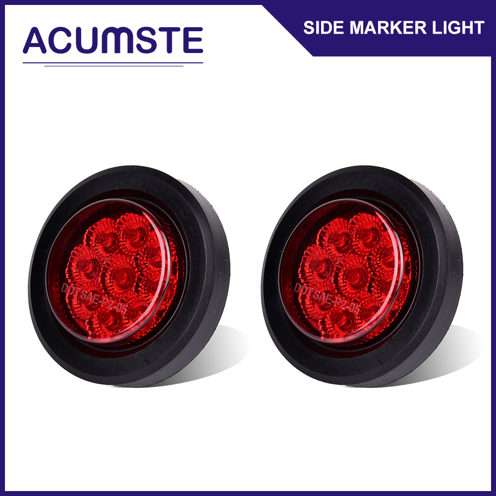 2x Round 2 Red 9led Mount Truck Trailer Clearance Side Marker Led Light With Reflector Wire 9 W Grommet
