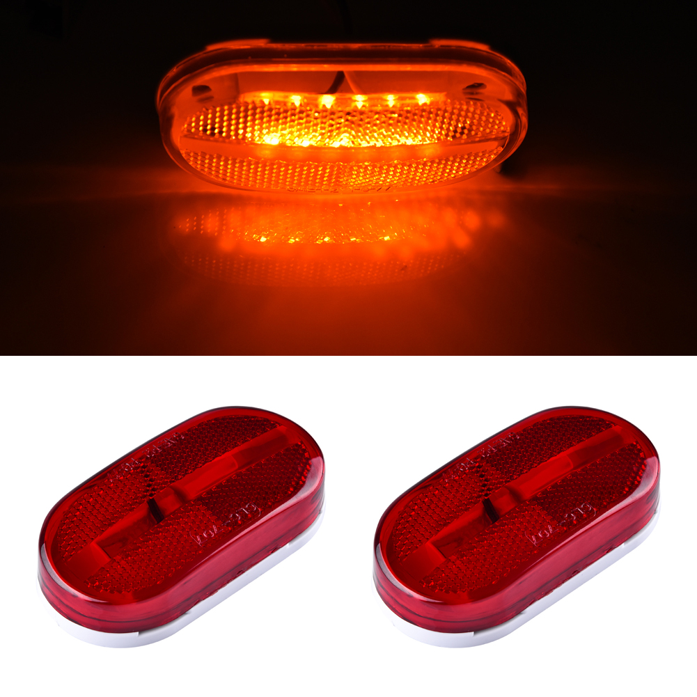 "Oval Red 2 Diode LED Trailer Truck lights Clearance Side Marker Light 4/"""