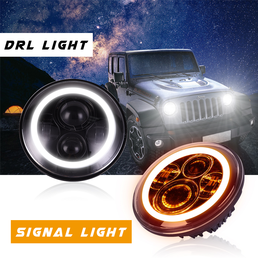2x 7in 75W Round LED Headlights Halo Angle Eyes For Jeep Wrangler 1958-2016 US#