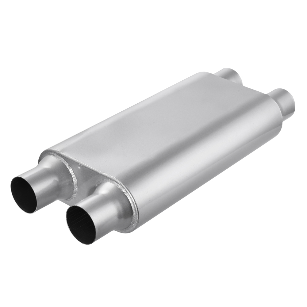 """Universal Oval Exhaust Muffler Center 2.5/"""" inlet to 2.5/"""" Dual outlet 24/"""" long"""
