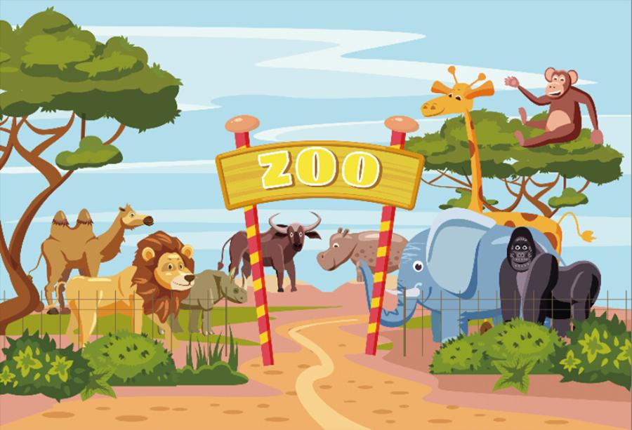 Vinyl Cartoon Zoo Kids Photography Studio Prop Backdrop
