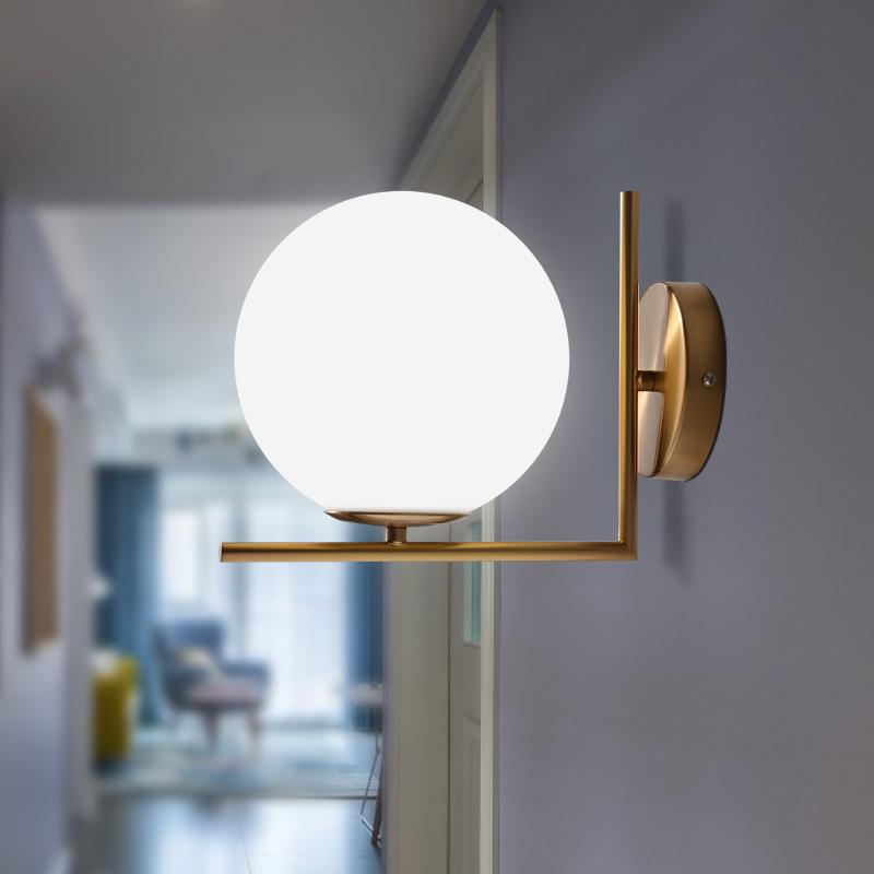 Minimalist Gold Brass Linear With Single White Glass Globe Led Porch Wall Lights Ebay