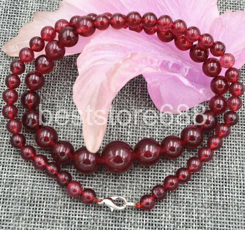 """Graduated 6-14mm Genuine natural ruby gem tower type necklace 18/""""Sterling silver"""