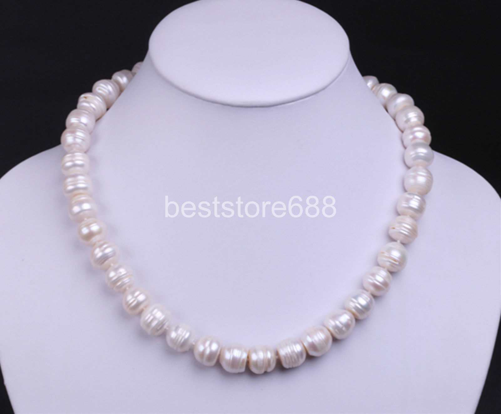 Jewelry & Watches Fashion Jewelry RARE 11-12MM CULTURED WHITE FRESHWATER PEARL leather Rope NECKLACE