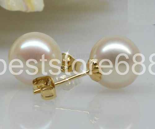 Round 10-11MM AAA WHITE SOUTH SEA PEARLS EARRING 14K GOLD