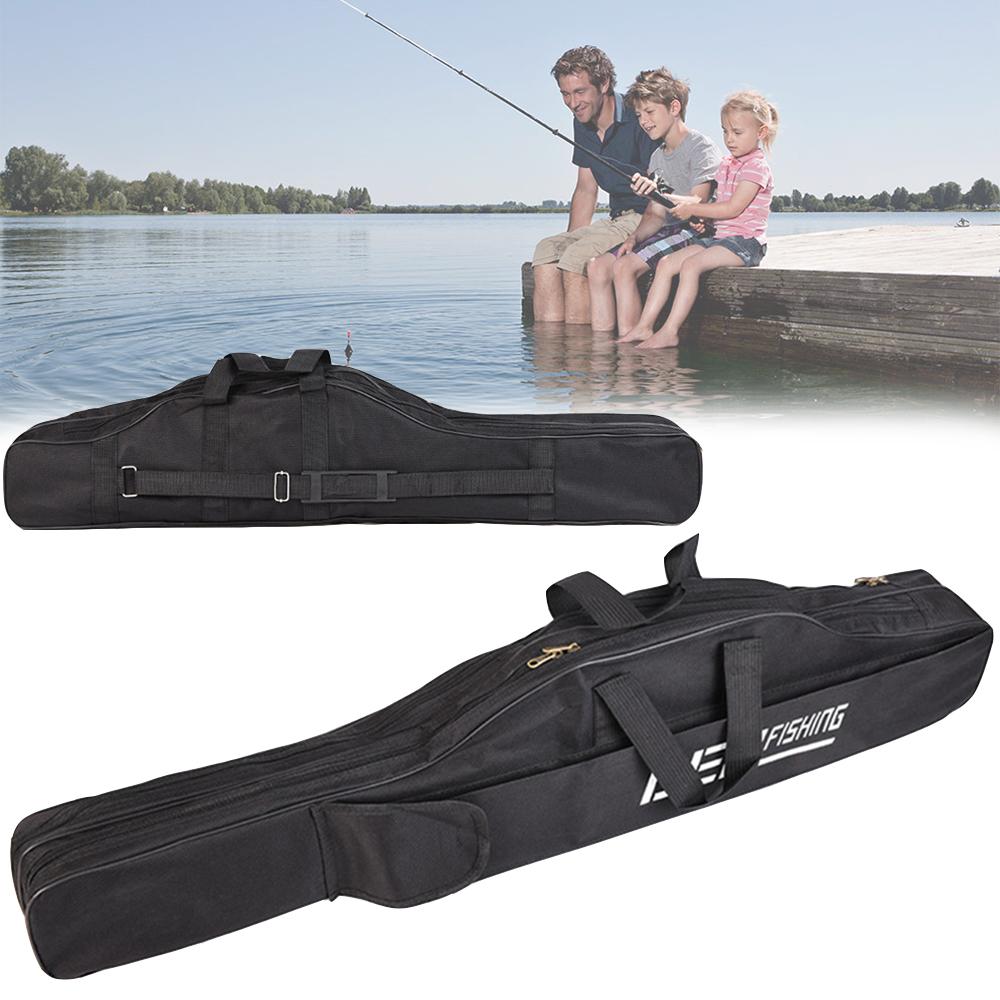 1.5m Black 2 Layers Fishing Rod Bag Case Fishing Tackle Bag Fishing Bag 1m