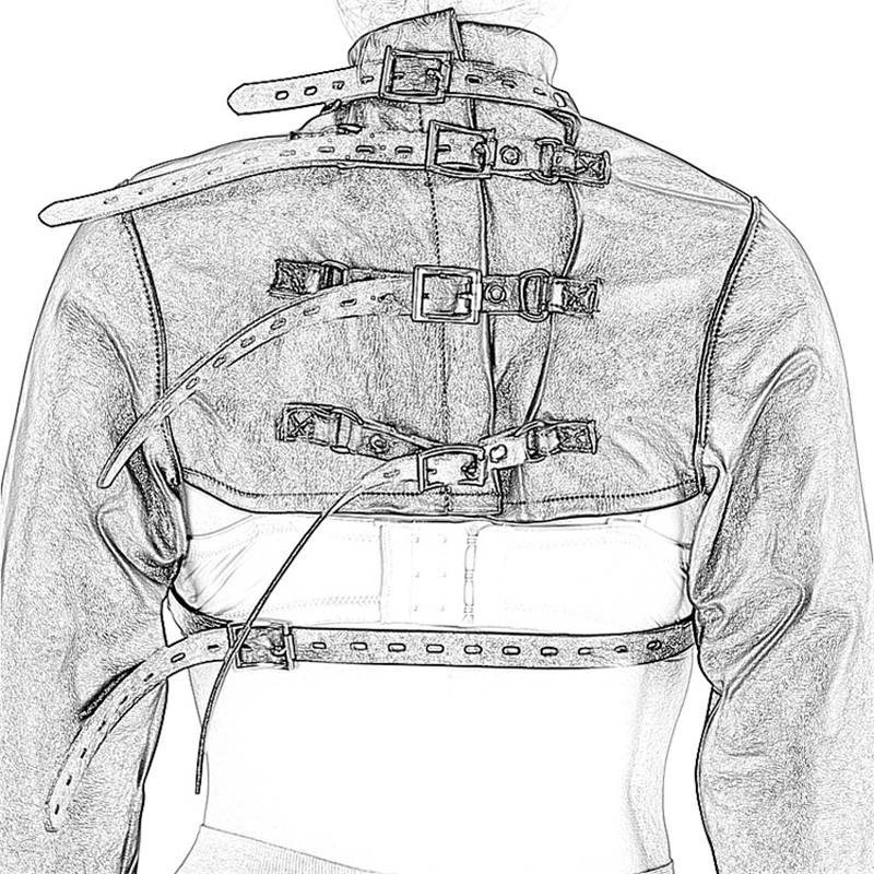 Sexy Body Harness Straight Jacket Fetish Costumes Arm