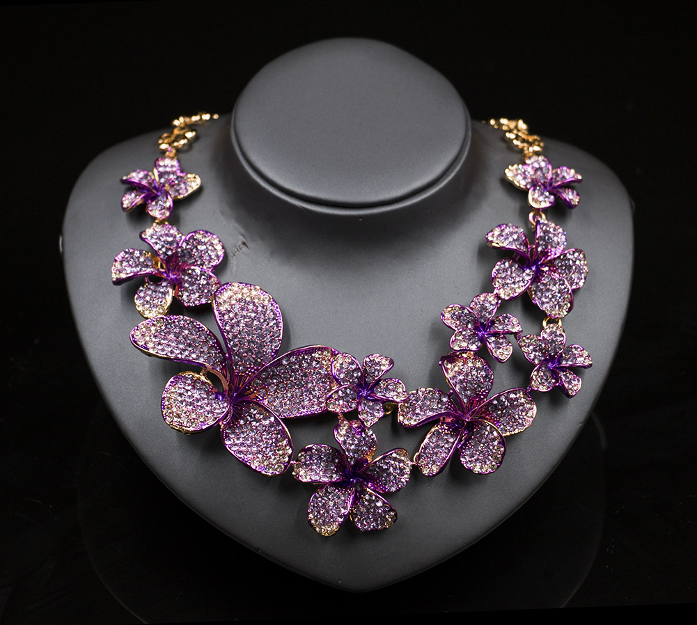 Women Wedding Jewelry Sets Flower Bridal Party Necklace Earrings