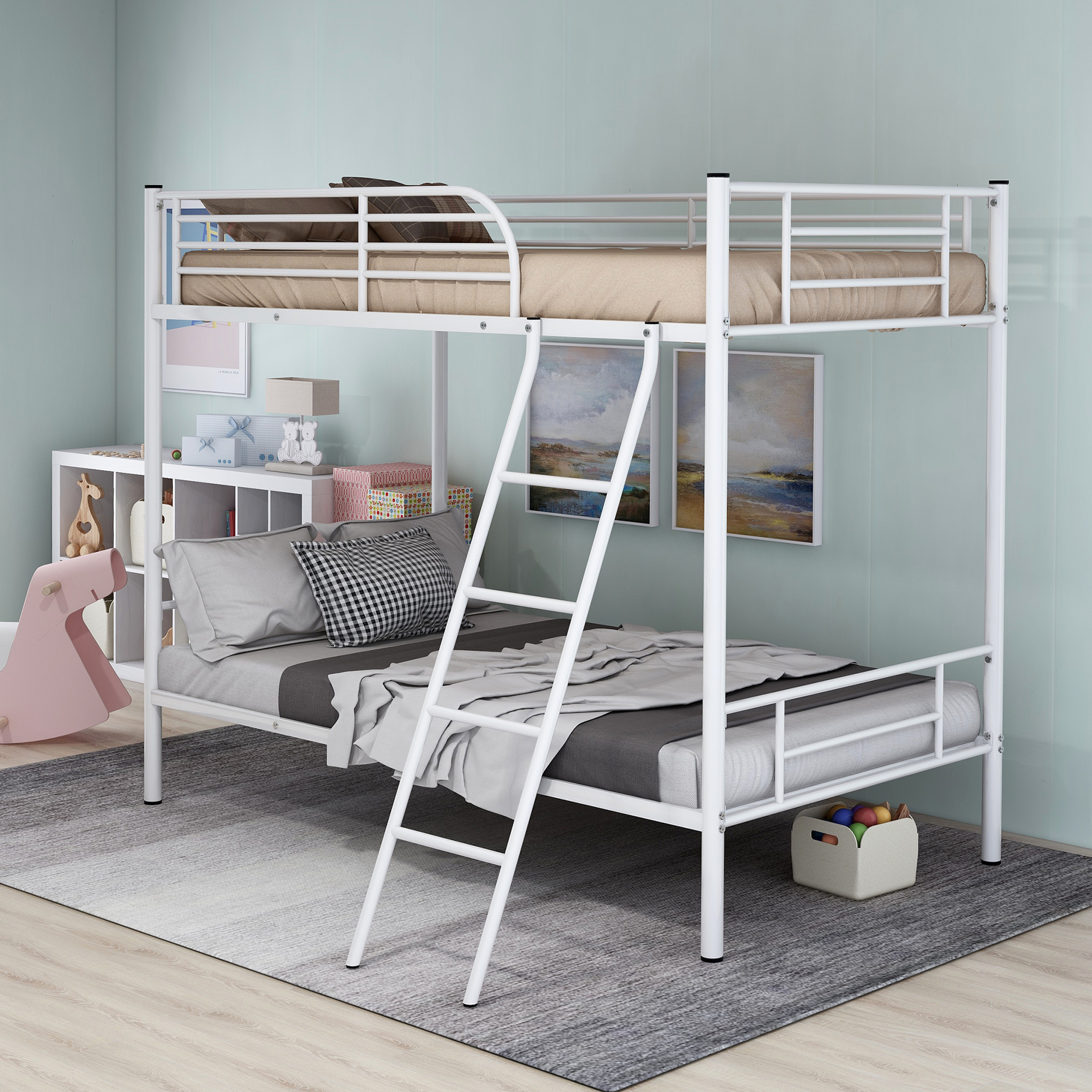 Twin Over Bunk Beds Frame Ladder