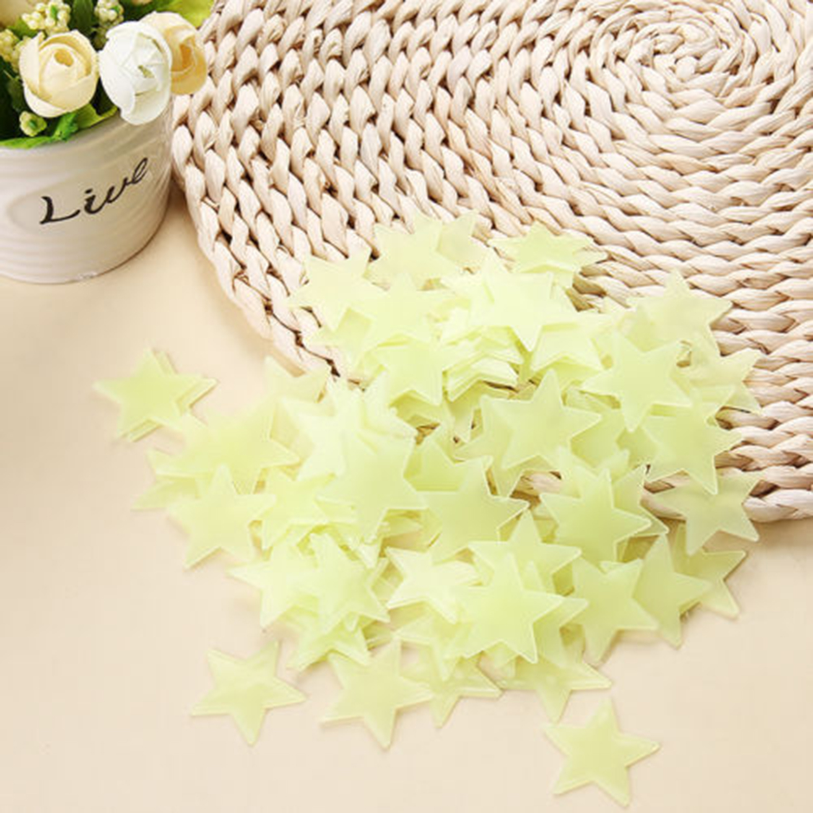 100Pcs 3D Home Wall Ceiling Glow In The Dark Stars Stickers Decal ...