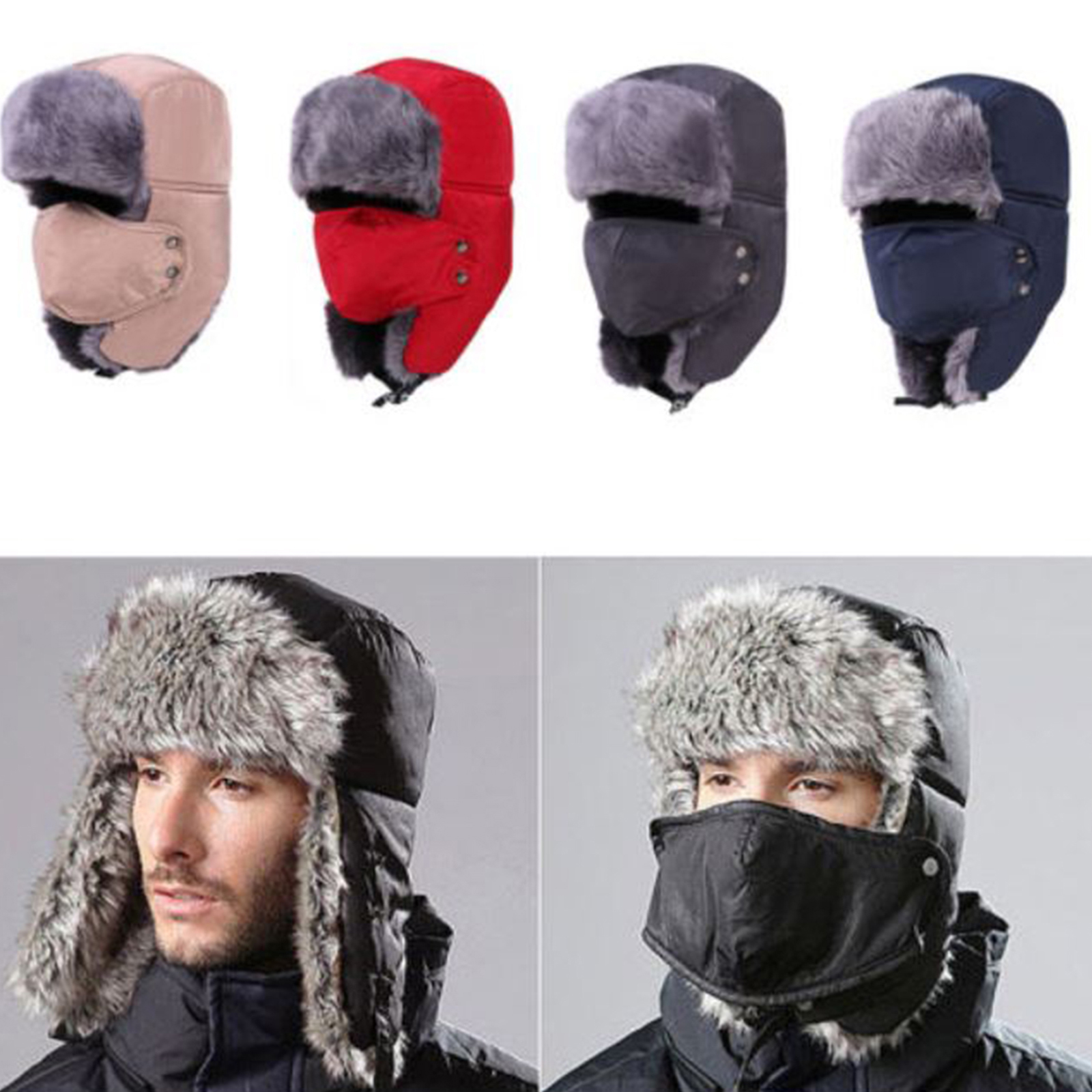 087dddbf1ad Details about Mens Winter Fur Ushanka Trapper Hat Aviator Earflap Ski Hat  Cap Hunting Trooper