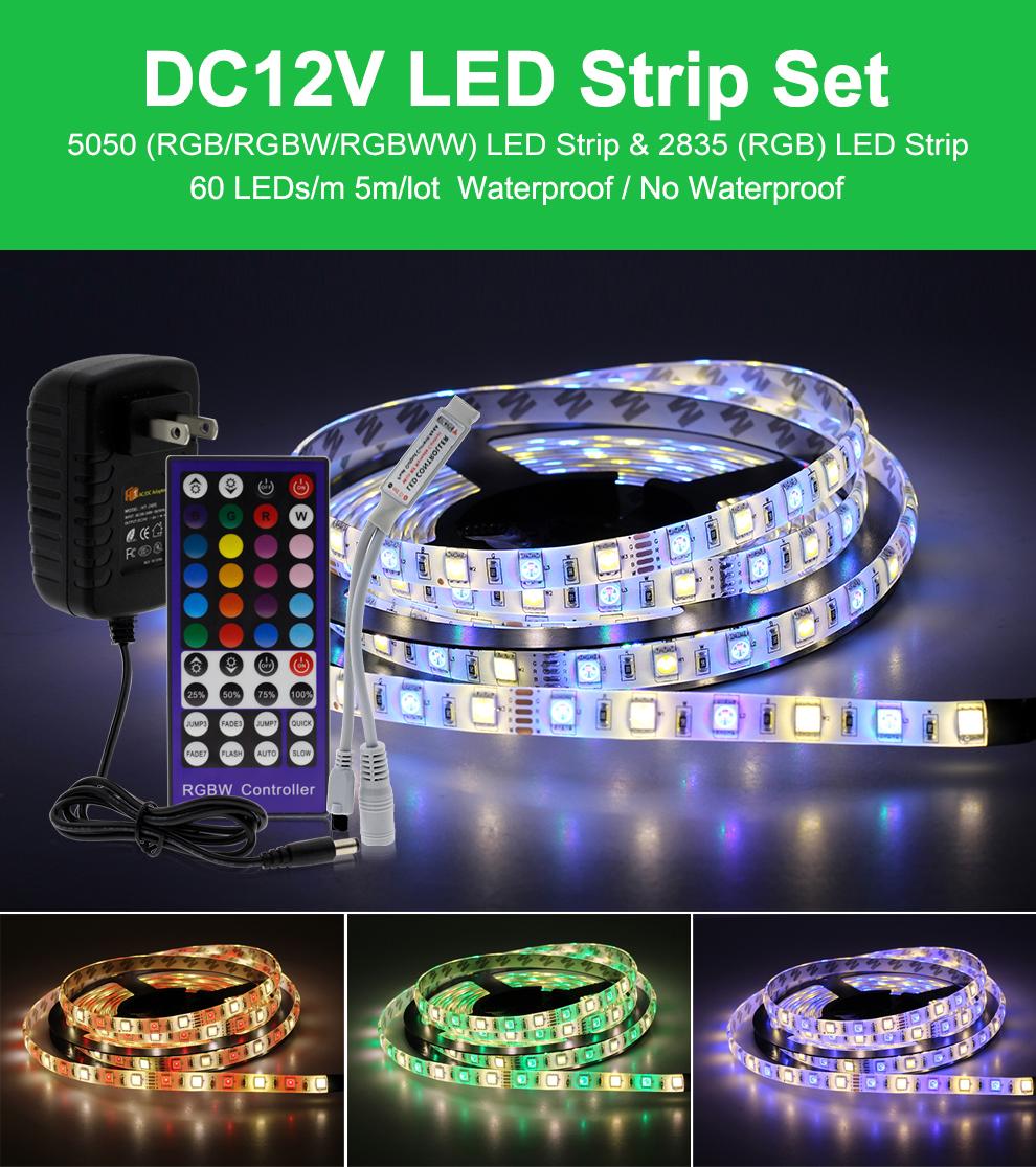 5M 5050 RGBWW 4-in-1 Chip LED Light Strip DC 12V Waterproof RGB Strip Decor Lamp