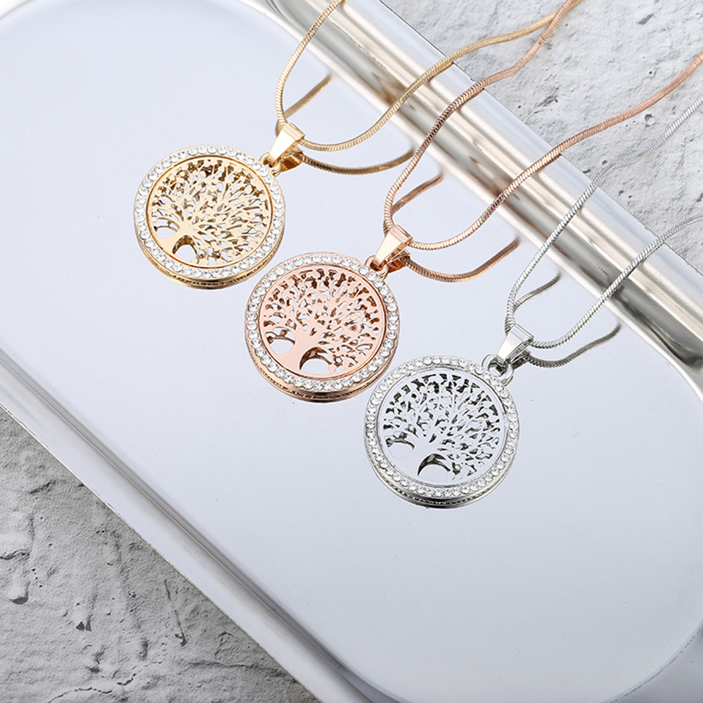 Women/'s Silver//Gold Plated Micro Crystal Paved Tree Of Life Pendant Necklace