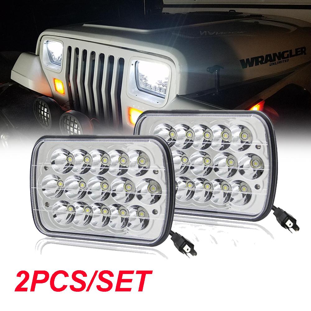 Pair 7x6 LED Headlight Headlamp High Low Beam Amber Turn Light H6054 Bulb  12V   eBay [ 1000 x 1000 Pixel ]