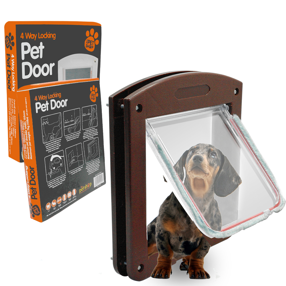4 Way Lockable Pet Dog Door Small Pet Dog Lock Flap Tunnel White
