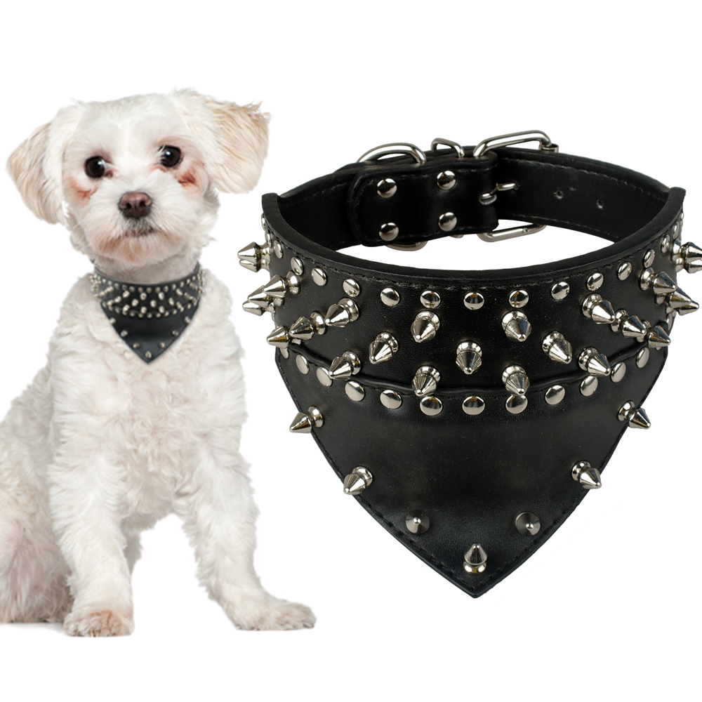 Details about Black Bandana-style Spike Studded PU Leather Dog Pet Collars Necklace S\L\L\XL