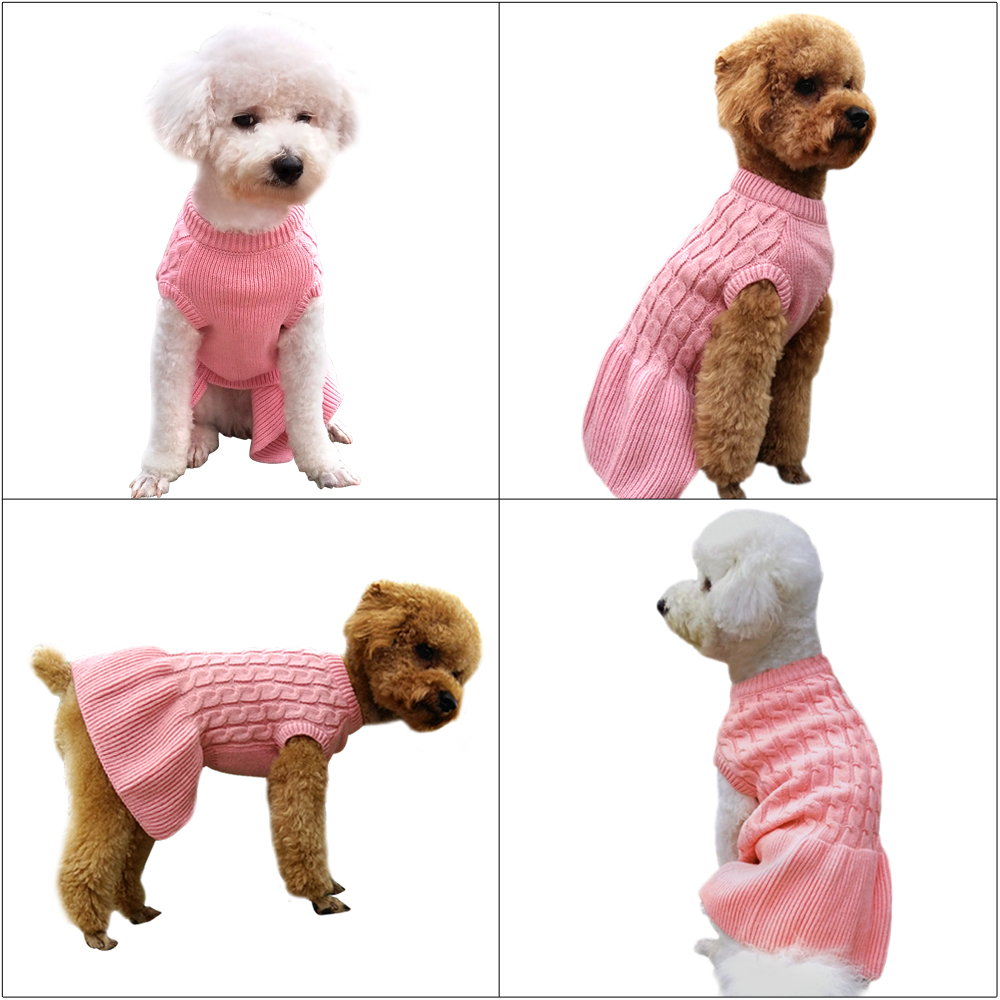 Winter Pink Dog Sweater Warm Knitted Sweaterskirt for Chihuahua ...