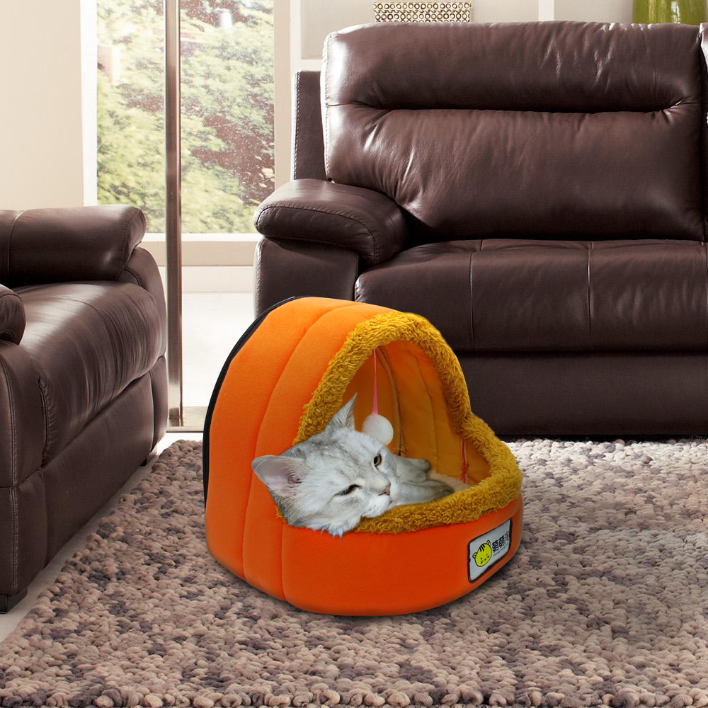 Fleece Kitty Cat Cave Soft Bed for Kitten Warm Cat Igloo Cave House Orange S L