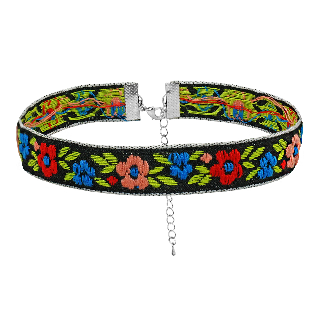 6pcs//lot Soft Dog Collar Floral Embroidery Necklace Adjustable for Pet Puppy Cat