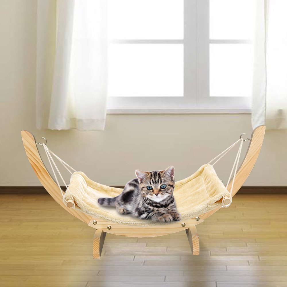 Awesome Details About Cat Hammock Chair With Wooden Frame Siesta Large Cat Plush Swing Bed 71X35X33Cm Customarchery Wood Chair Design Ideas Customarcherynet