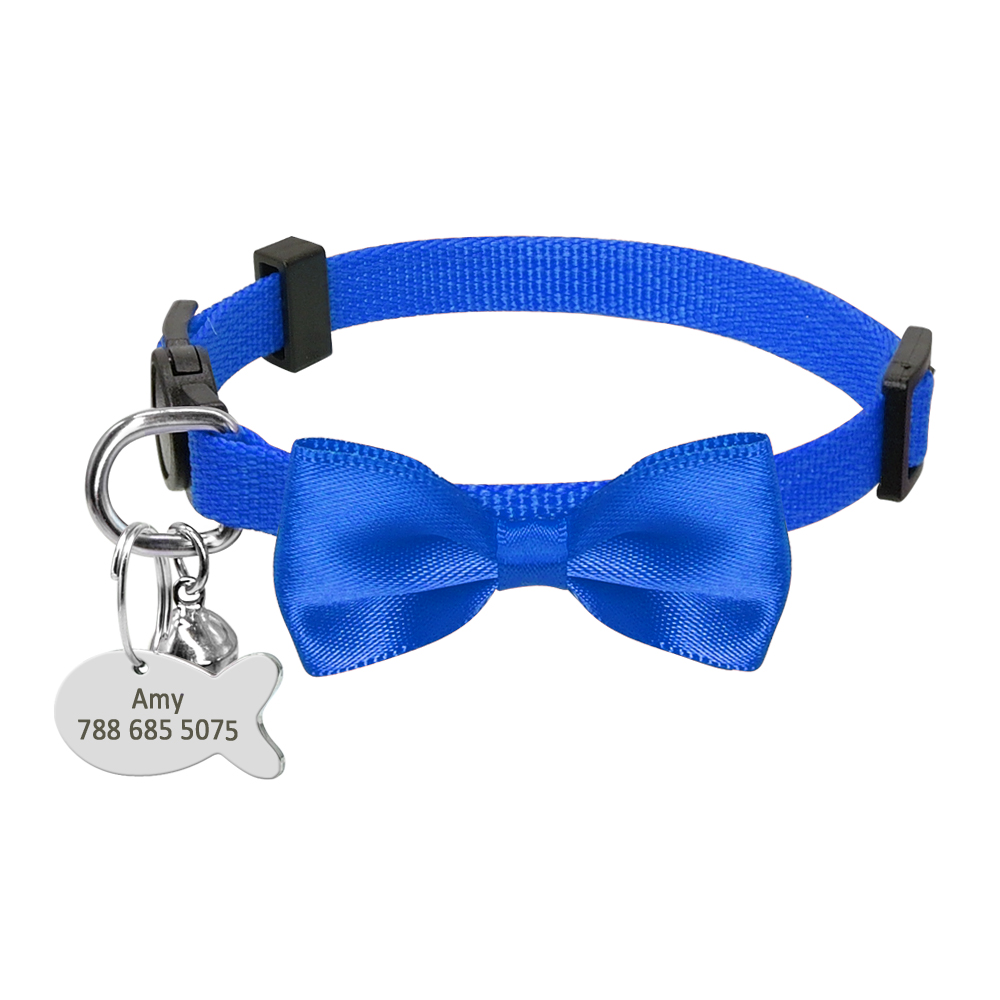 personalized puppy dog kitten cat collar breakaway bowtie tag quick release ebay. Black Bedroom Furniture Sets. Home Design Ideas