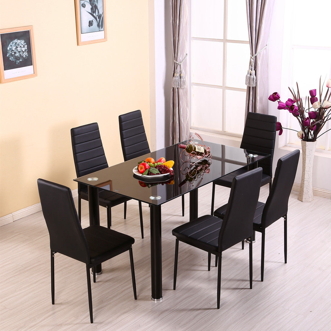 Set Of 4 Dining Room Chairs Kitchen Set Faux Leather: 140CM GLASS DINING TABLE SET AND WITH 4 FAUX LEATHER