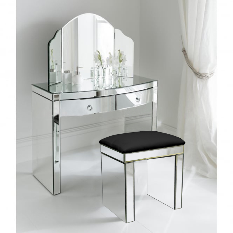 . Details about Padded Dressing Table Stool Black Mirror Chair Faux Leather  Bedroom Mirror Seat
