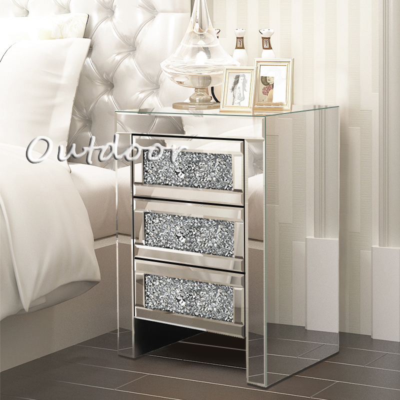 Glass Bedroom Table Mirrored Furniture Chest Of Drawer