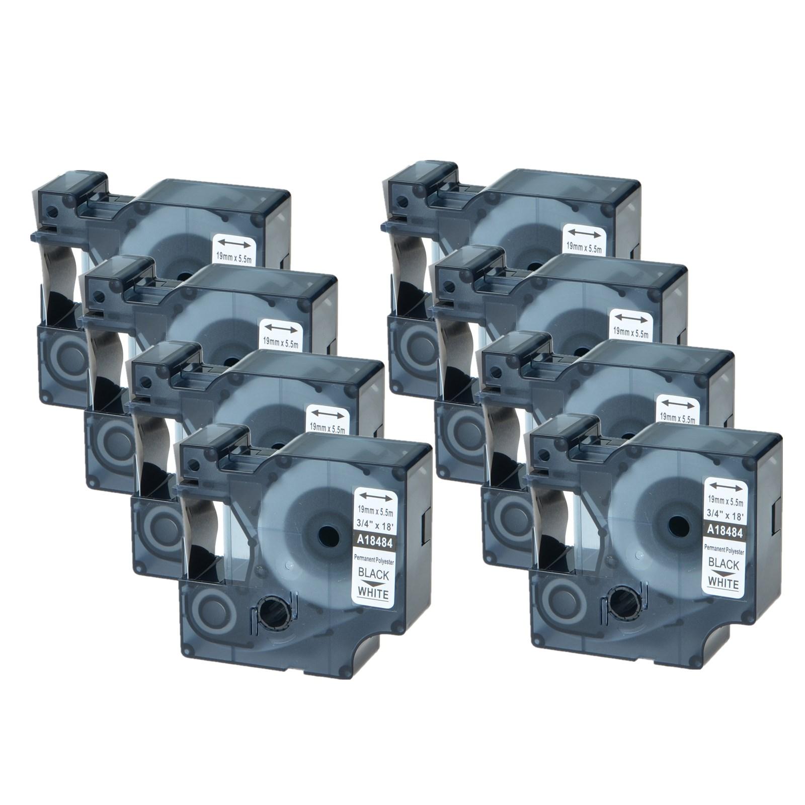 "3PK For DYMO Rhino Industrial 4200 5200 3//4/"" Black//White Perm Poly Label 18484"