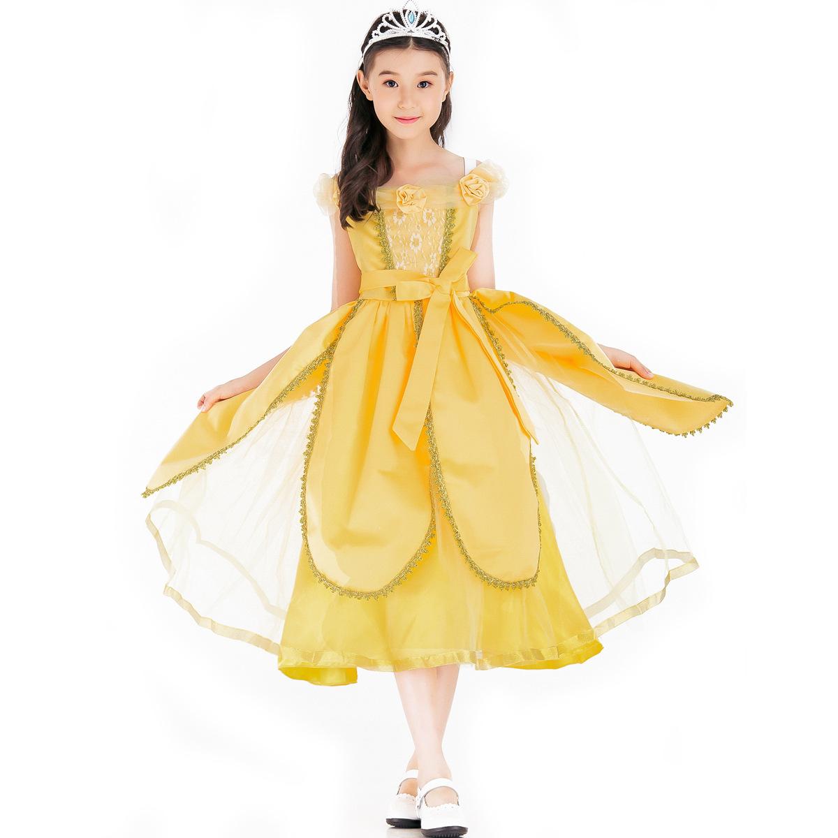 Prinzessin Belle Damen Kostum Fasching Kleid Maxikleider Partykleid