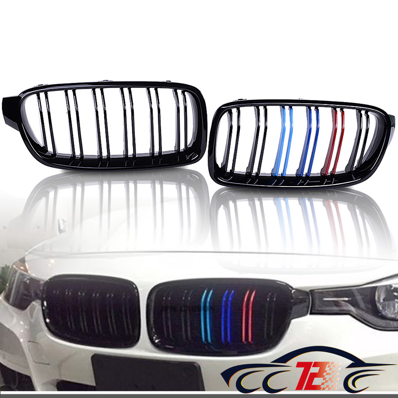 Glossy Black M-Color Front Kidney Grille Grill For 2012-2018 BMW F30 320i 328i 335i 4-Door