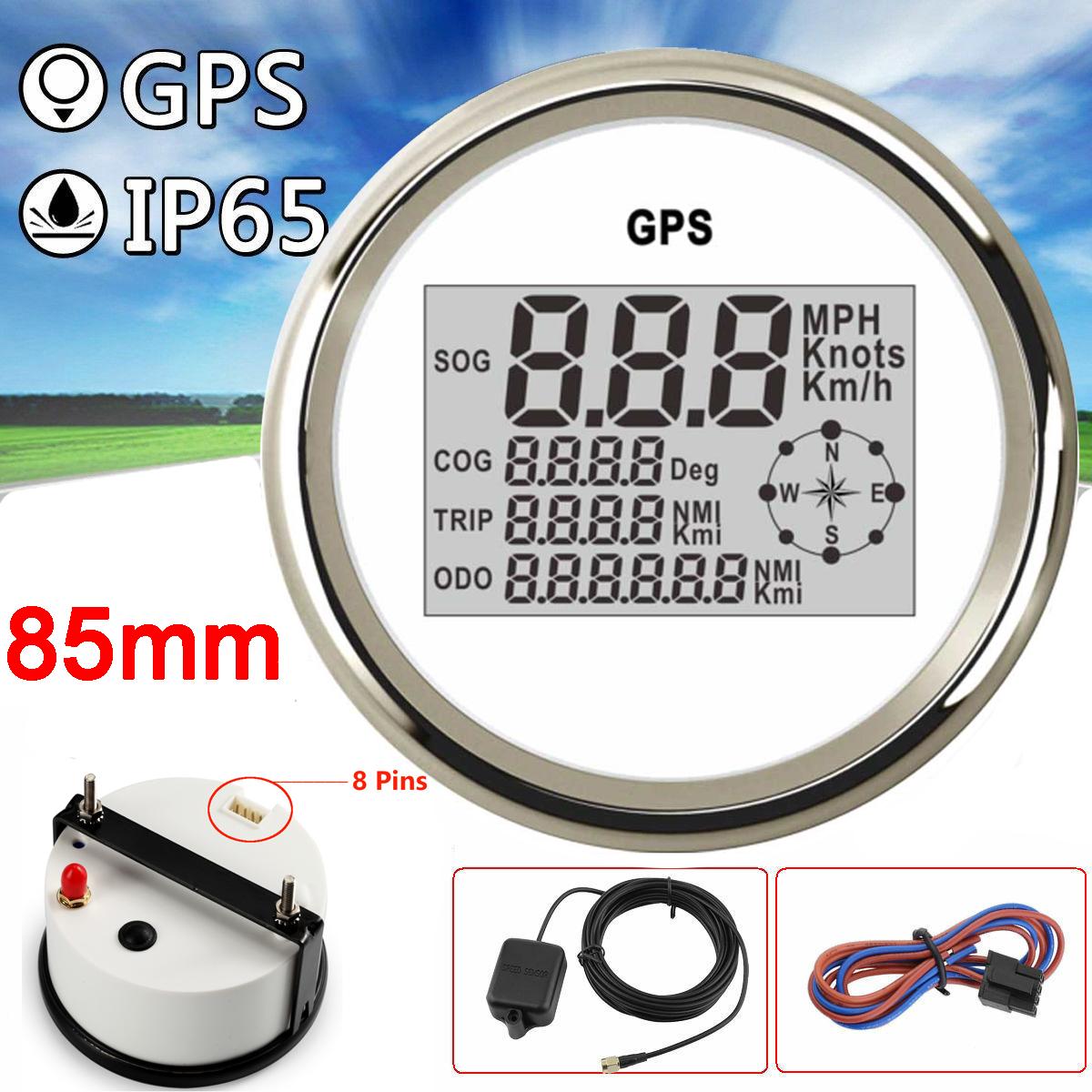 85mm Orange GPS Digital Speedometer Odometer Gauge for Car Truck Boat Marine ATV