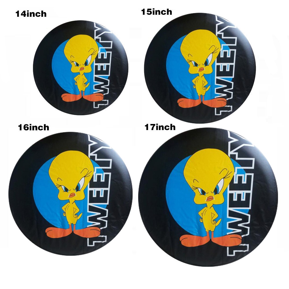 """32/""""-33/"""" Spare Wheel Tire Cover TWEETY Logo Soft Protector Resistant PVC Cover"""