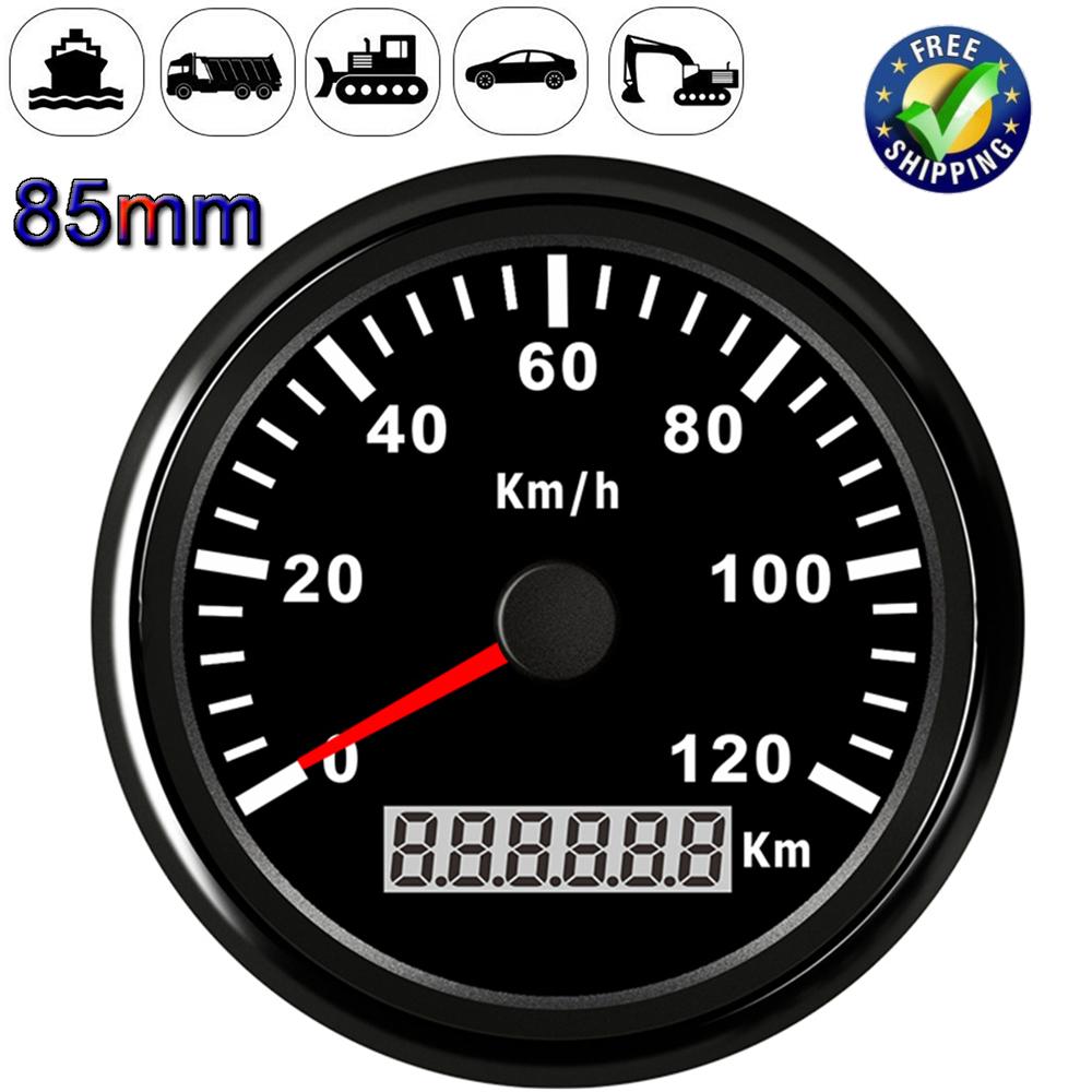 Marine Boat Auto GPS Speedometer Speed Meter Gauge 85mm 120km//h 9-32V 316L Bezel