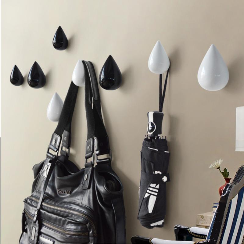 Water Drop Coat Hat Key Rubber Resin Wall Hook Rail Rack Hanger Home Mall Decor